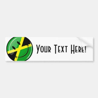 光沢のある円形の微笑のジャマイカの旗 バンパーステッカー