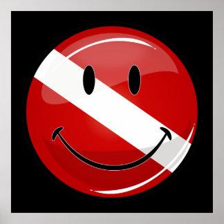 光沢のある円形の微笑のダイバーの旗ポスター ポスター