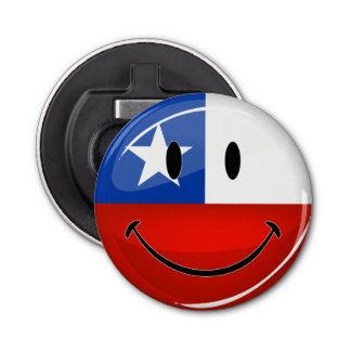 光沢のある円形の微笑のチリの旗 栓抜き