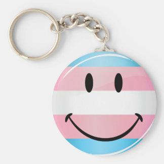 光沢のある円形の微笑のトランス・ジェンダーの旗 キーホルダー
