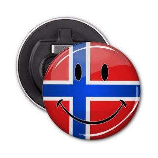 光沢のある円形の微笑のノルウェーの旗 栓抜き