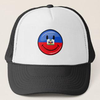 光沢のある円形の微笑のハイチの旗 キャップ