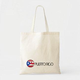 光沢のある円形の微笑のプエルトリコの旗 トートバッグ