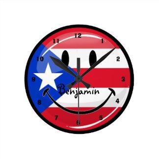 光沢のある円形の微笑のプエルトリコの旗 ラウンド壁時計
