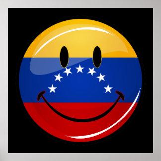 光沢のある円形の微笑のベネズエラの旗 ポスター