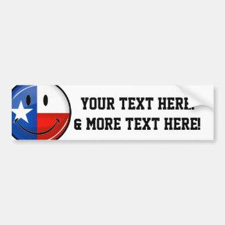 光沢のある円形の微笑の誇りを持ったなテキサス州の旗 バンパーステッカー
