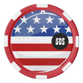 光沢のある円形の米国旗 カジノチップ