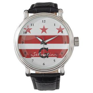 光沢のある円形のWashington D.C. Flag 腕時計