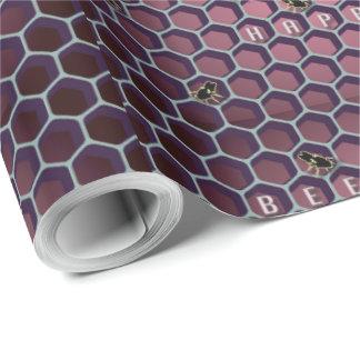 光沢のある包装紙-幸せな蜂 ラッピングペーパー