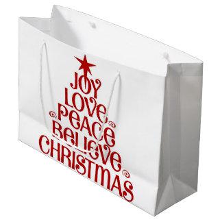 光沢のある喜びのクリスマスの大きいギフトバッグ- ラージペーパーバッグ