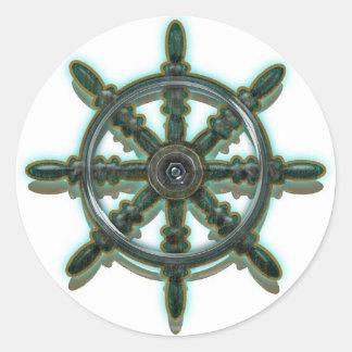 光沢のある大尉の車輪のクラシックな円形のステッカー ラウンドシール