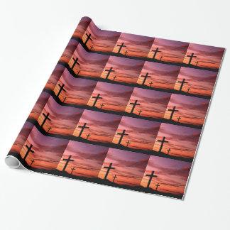 光沢のある宗教包装紙- 3十字のイエス・キリスト ラッピングペーパー