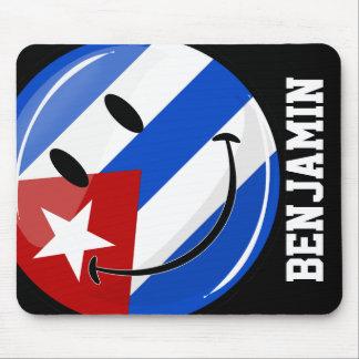 光沢のある微笑のキューバの旗 マウスパッド