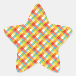光沢のある格子縞の星のステッカー 星シール