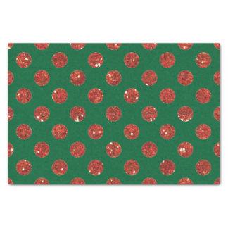 光沢のある緑および赤い水玉模様 薄葉紙