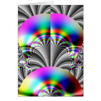 光沢のある虹のフラクタル カード