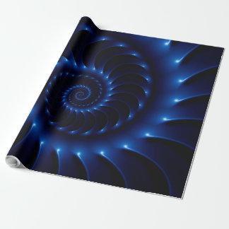 光沢のある青い螺線形のフラクタルの包装紙 ラッピングペーパー