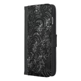 光沢のある黒いフラクタルの抽象芸術 iPhone 6/6S PLUS ウォレットケース