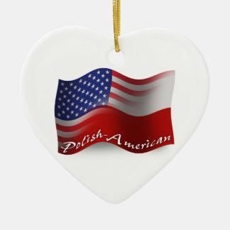 光沢アメリカの振る旗 セラミックオーナメント
