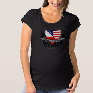 光沢アメリカの盾の旗 マタニティTシャツ