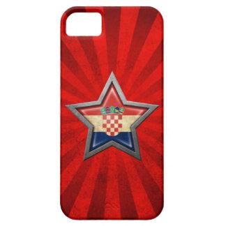 光線が付いているクロアチアの旗の星 iPhone SE/5/5s ケース
