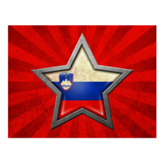 光線が付いているスロベニアの旗の星 ポストカード