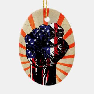 光線が付いているヴィンテージの愛国心が強いアメリカの握りこぶし セラミックオーナメント
