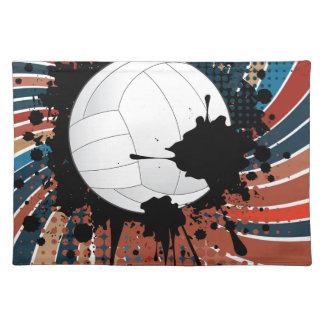 光線の背景のバレーボールの球 ランチョンマット