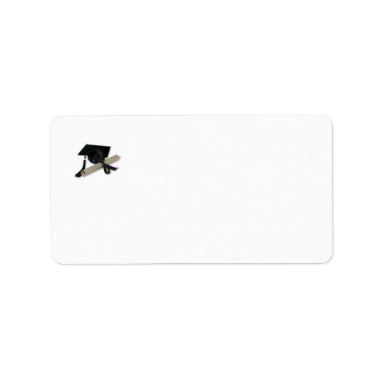 免状および卒業の帽子(乳鉢板) ラベル