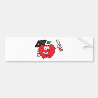 免状を握っているAppleのキャラクターの卒業生 バンパーステッカー