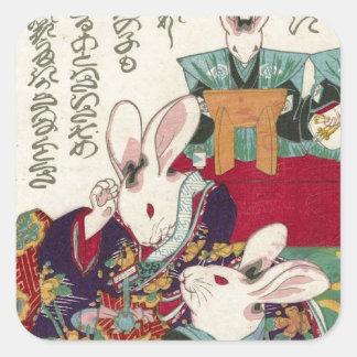 兎の歌舞伎役者、ウサギ、Yoshifuji、Ukiyo-eの芳藤俳優 スクエアシール