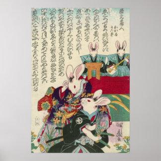 兎の歌舞伎役者、ウサギ、Yoshifuji、Ukiyo-eの芳藤俳優 プリント