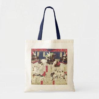 兎の相撲、芳藤の相撲のウサギ、Yoshifuji、Ukiyo-e トートバッグ