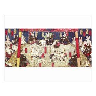 兎の相撲、芳藤の相撲のウサギ、Yoshifuji、Ukiyo-e ポストカード