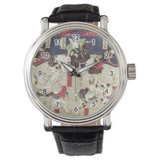 兎の相撲、芳藤の相撲のウサギ、Yoshifuji、Ukiyo-e 腕時計