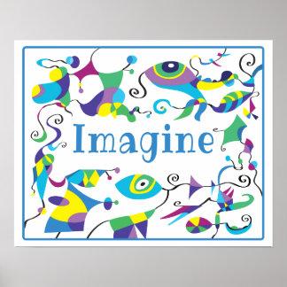 児童室のための抽象的な装飾ポスターを想像して下さい ポスター