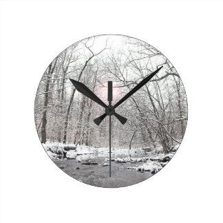 入り江-冬 ラウンド壁時計