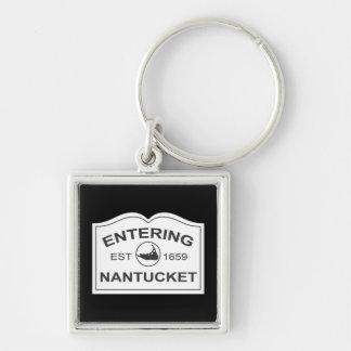 入るNantucket米国東部標準時刻。 1659黒及び白に署名して下さい キーホルダー