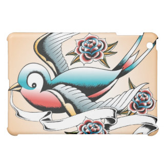 入れ墨のすずめのばら色のipadカバー iPad mini case
