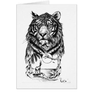 入れ墨のトラの芸術 グリーティングカード