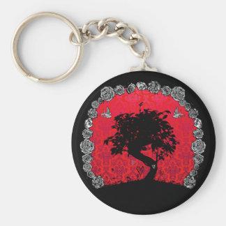 入れ墨の愛つばめのばら色の盆栽の木 キーホルダー