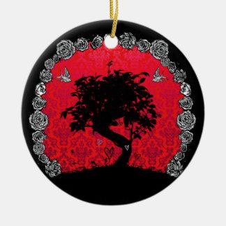 入れ墨の愛つばめのばら色の盆栽の木 セラミックオーナメント