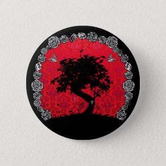 入れ墨の愛つばめのばら色の盆栽の木 缶バッジ