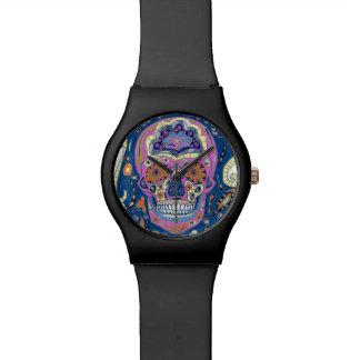 入れ墨の砂糖のスカルの腕時計 腕時計