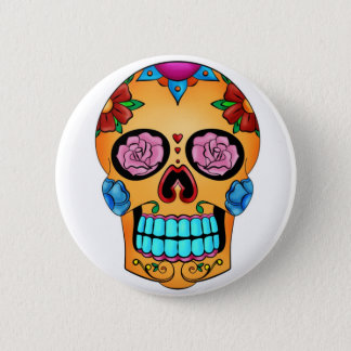 入れ墨の砂糖のスカル-死者の日、メキシコ 5.7CM 丸型バッジ