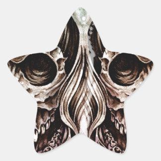 入れ墨の芸術、スカルのヘッドイラストレーション、oveのスケッチ 星シール