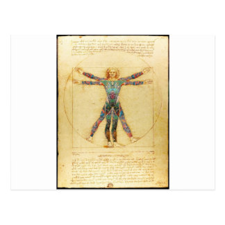 入れ墨を持つDa VinciのVitruvianの人 ポストカード