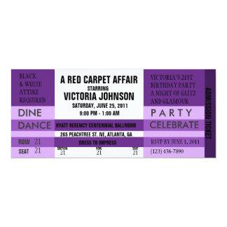 入場のチケットの招待[紫色] 10.2 X 23.5 インビテーションカード