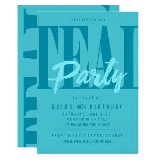 全くティール(緑がかった色)のパーティの招待状 12.7 X 17.8 インビテーションカード