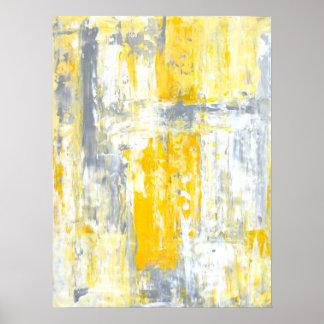 「全くユニークな」灰色および黄色の抽象美術 ポスター